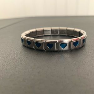 Blue/teal heart metal bracelet